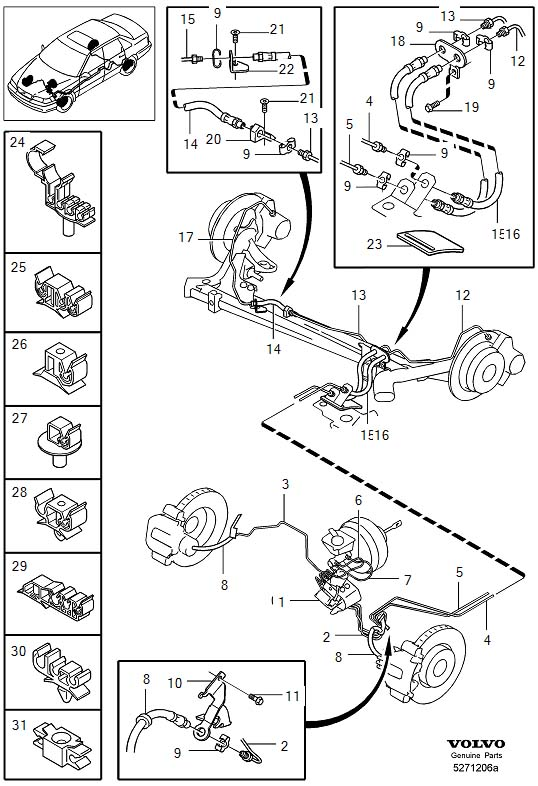 Brake lines with assembly parts 1999- 2WD