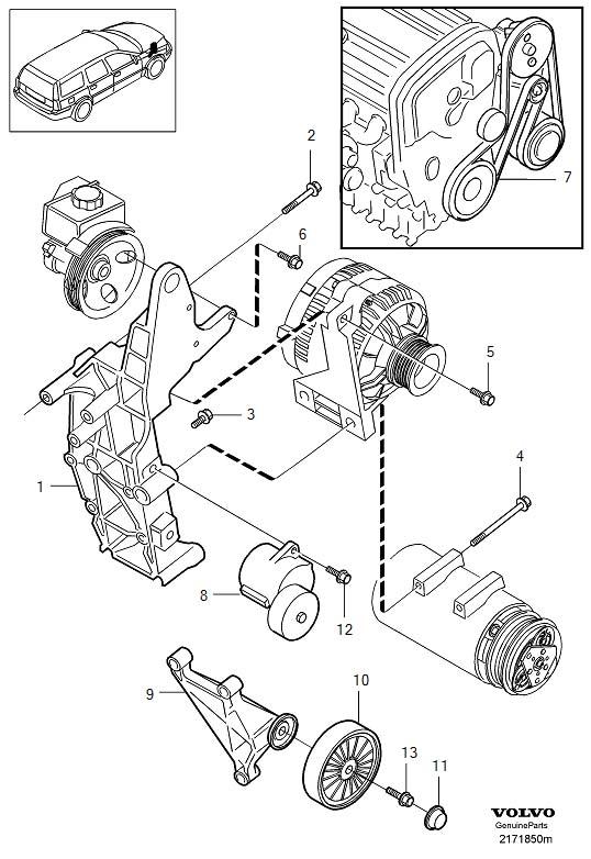 Volvo S60 4DRS S.R 2.5l 5 cylinder Turbo Belt tensioner