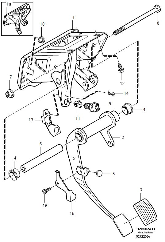 Brake pedal with assembly parts, L.H.D