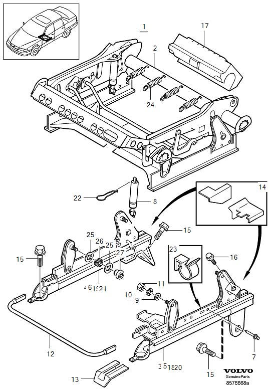 Volvo Subframe for seat, manual adjustment S70, V70