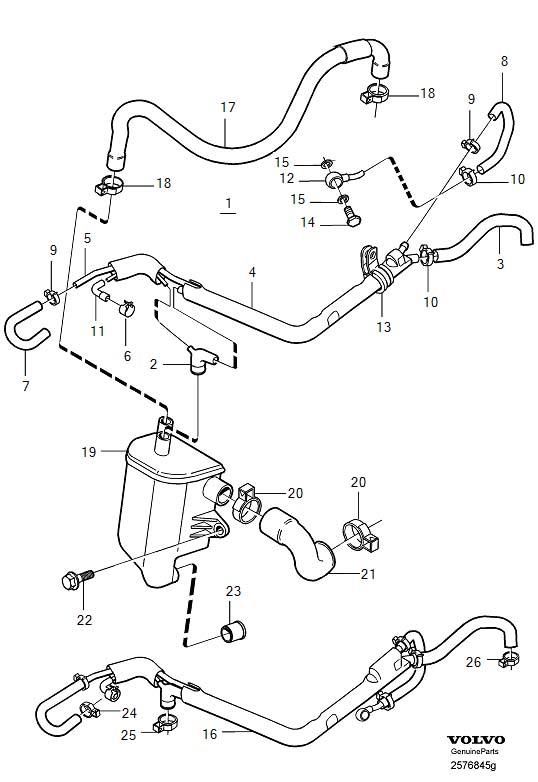 2001 Volvo V40 Crankcase ventilation 4-Cylinder TURBO