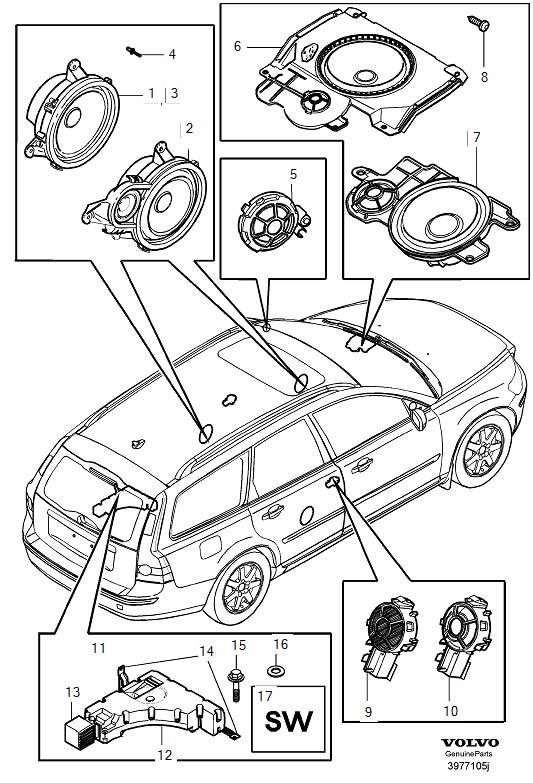 Volvo V50 Loudspeaker Factory-fitted Standard Sound System