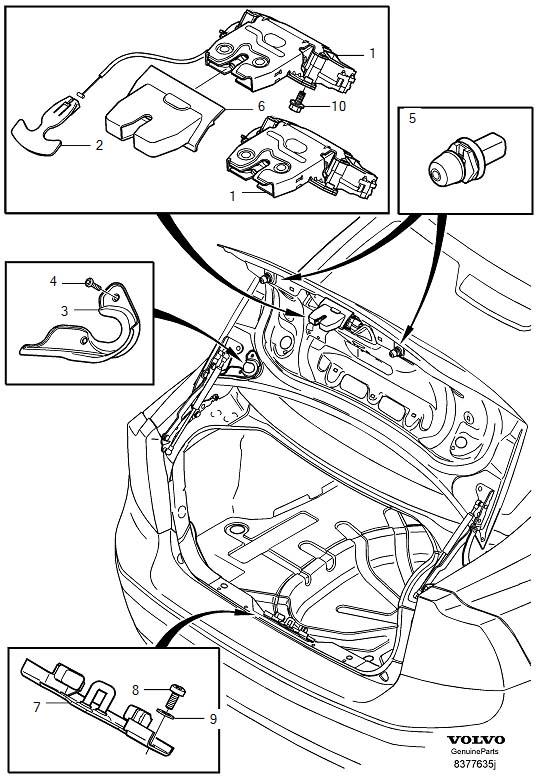 2006 Volvo S40 Locking system trunk lid S40