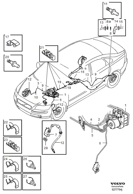 Volvo S40 Brake line with connections