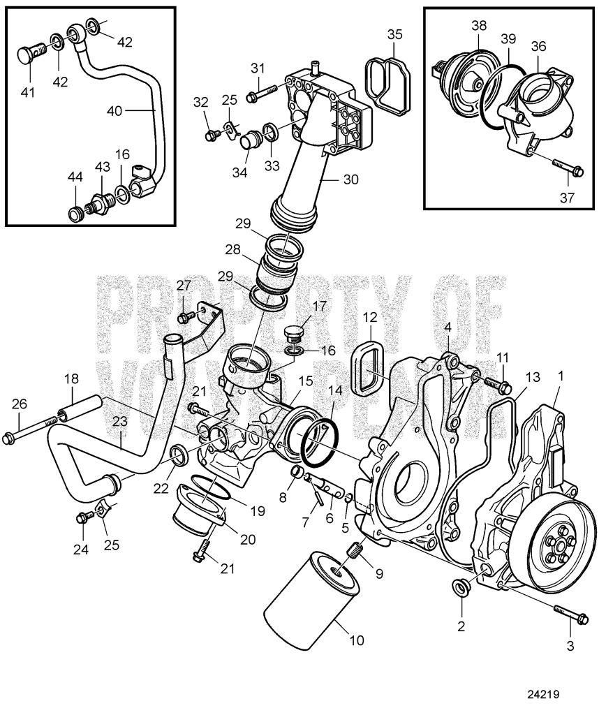 Water Pump, Thermostat Housing And Water Filter, Radiator