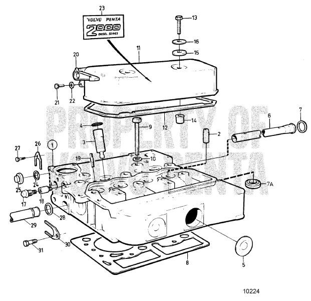 Cyl. Head, Repl. Exhaust Valve Seats Seawater-Cooled