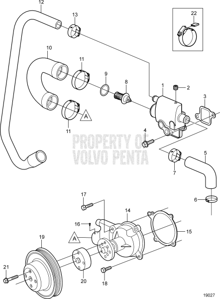 Circulation Pump And Thermostat Housing 3.0GSP-A, 3.0GSP-B