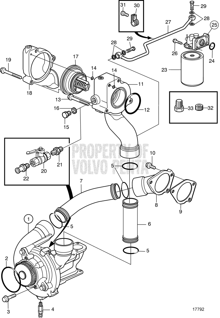 Water Pump, Thermostat Housing And Water Filter, He/Kc