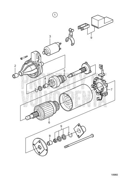 Starter Motor, Components D2-55 A, D2-55 B, D2-55 C, D2-55