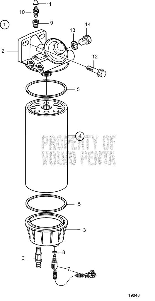 Fuel Filter. Later Production D12D-A MG, D12D-E MG