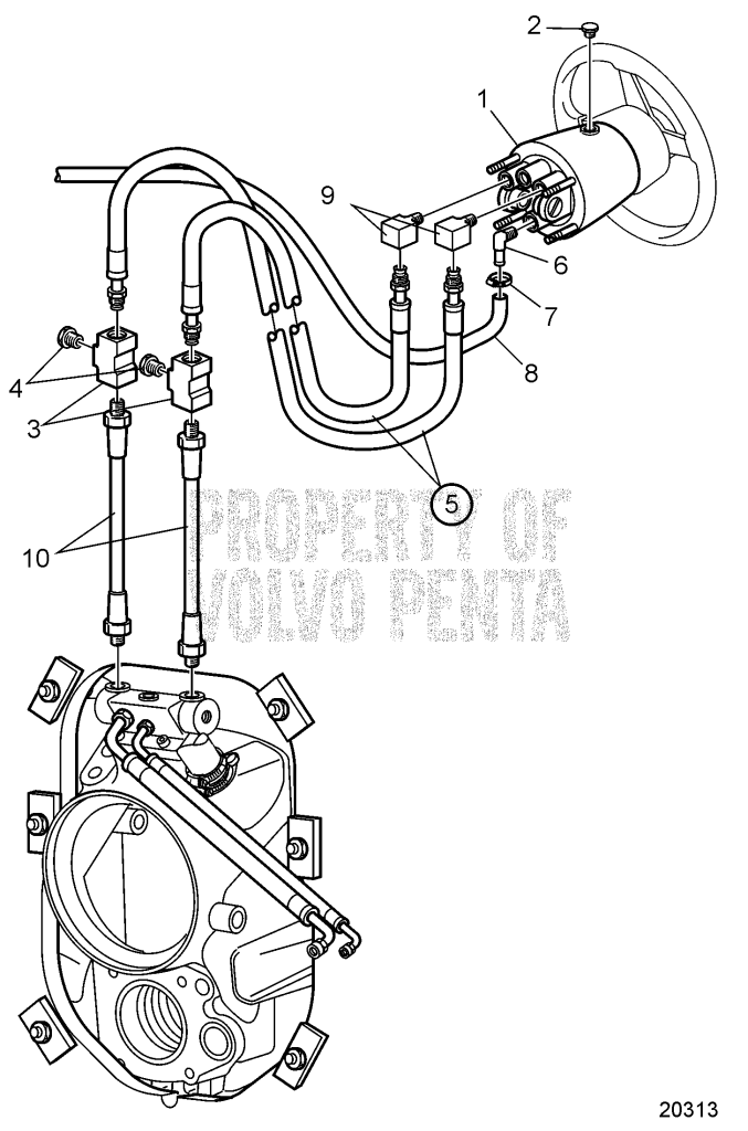 Steering System, Early D6-280A-A, D6-280A-B, D6-310A-A, D6