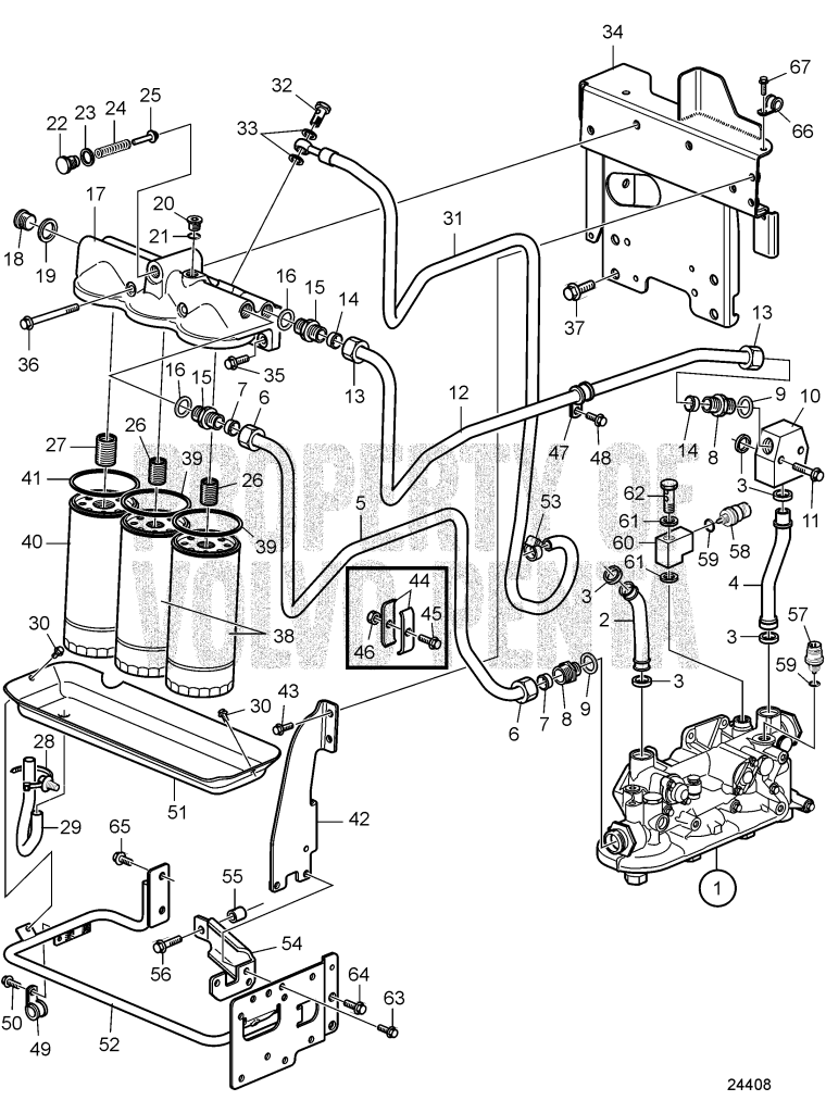 Oil Filter And Oil Lines D9A2A D9-425, D9A2A D9-500 (R4