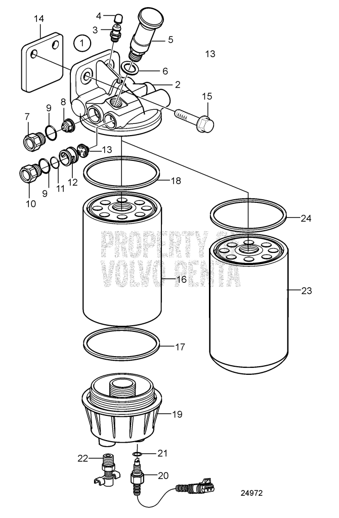 Fuel Filter Housing, Components, Later Production With