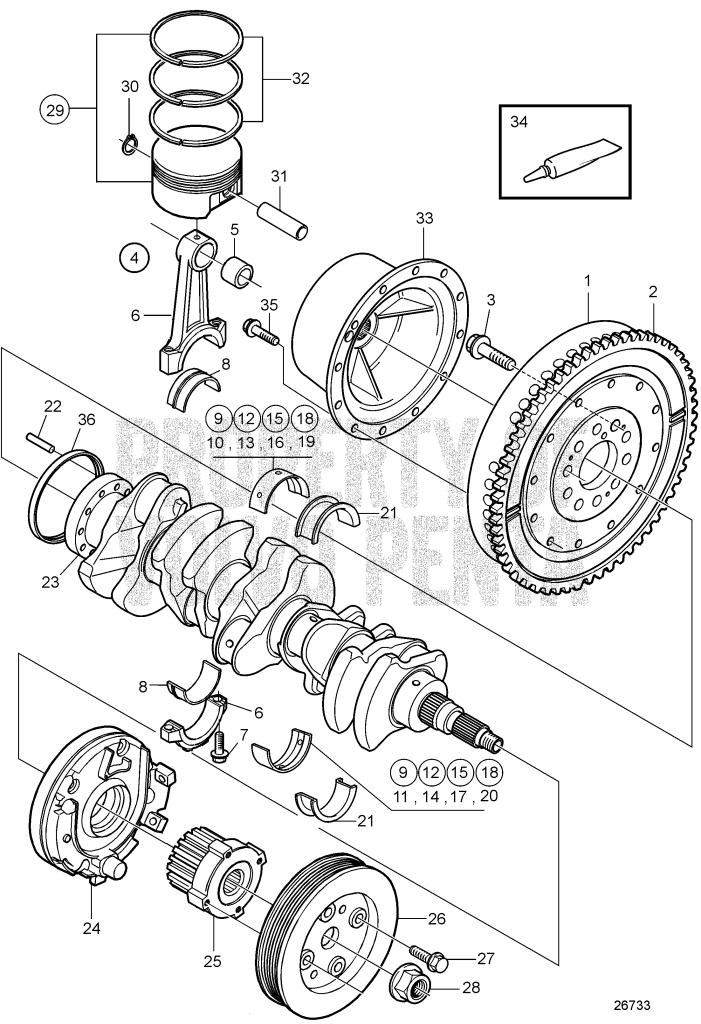 Crank Mechanism D3-140A-D, D3-140A-E, D3-170A-D, D3-170A-E