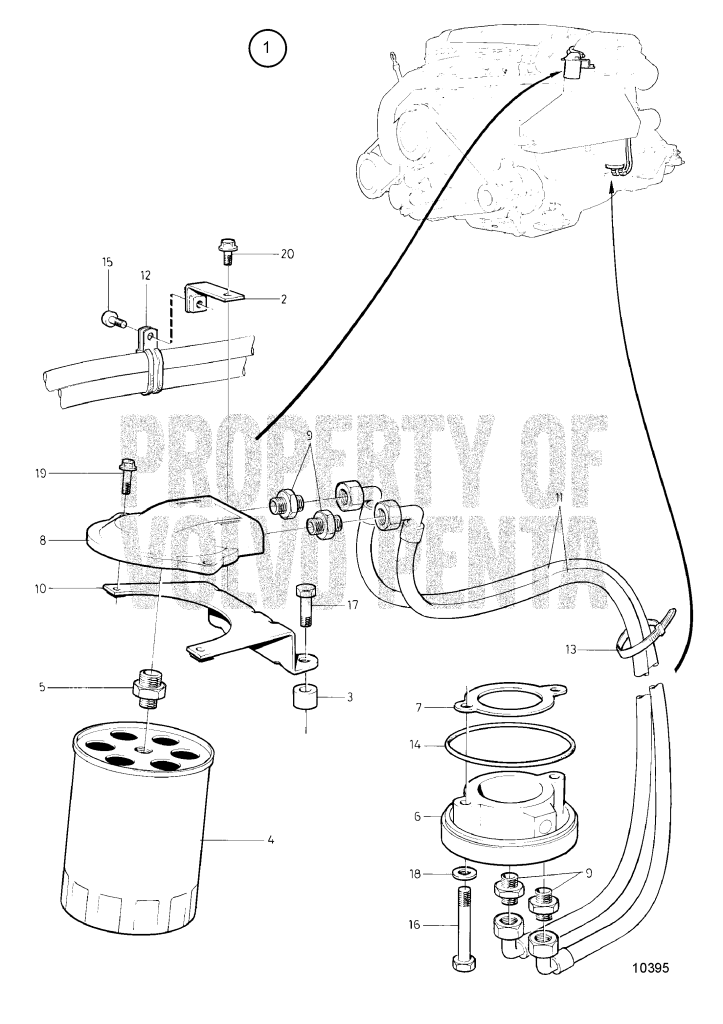 Oil Filter Kit Mounted On Exhaust Riser 500B, 501B, 570A