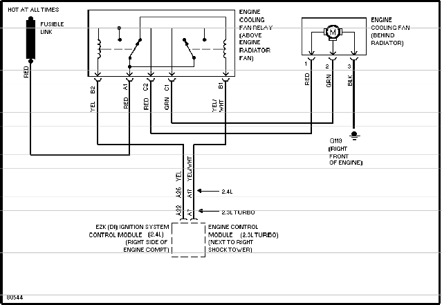 Volvo 850 cooling system specifications & wiring diagram