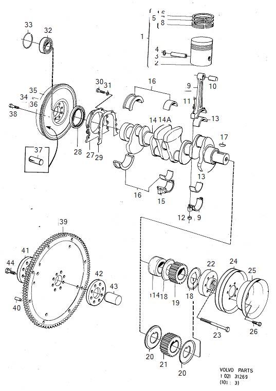 1984 Volvo 240 Piston kit. Genuine Classic Part. Mechanism