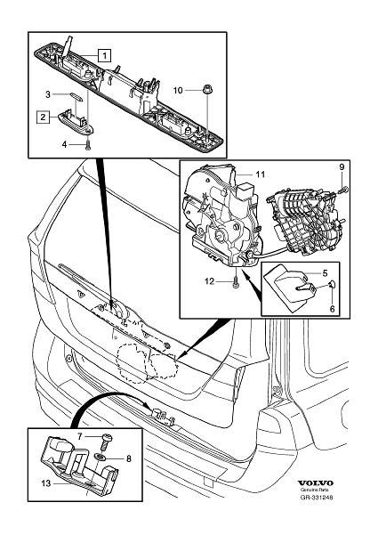 2011 Volvo XC90 Handle. Tailgate, System, Locking