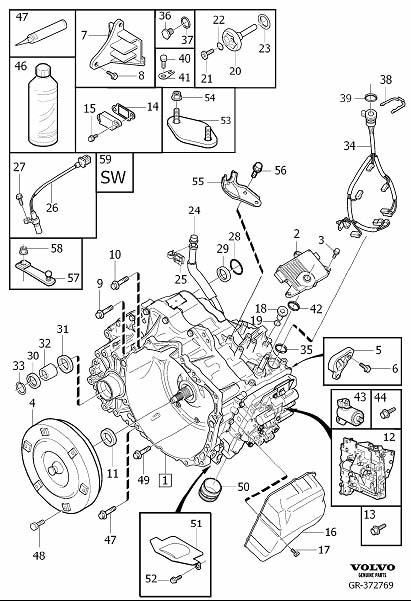 Volvo XC90 Gasket. Gearbox, Automatic. Transmission