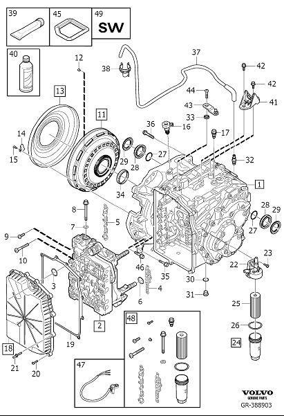 Volvo S80 Sealing Cover. Automatic Transmission. Kit