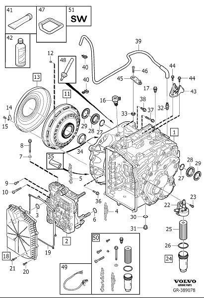 Volvo S80 Sealing cover. Transmission, Automatic, Kit