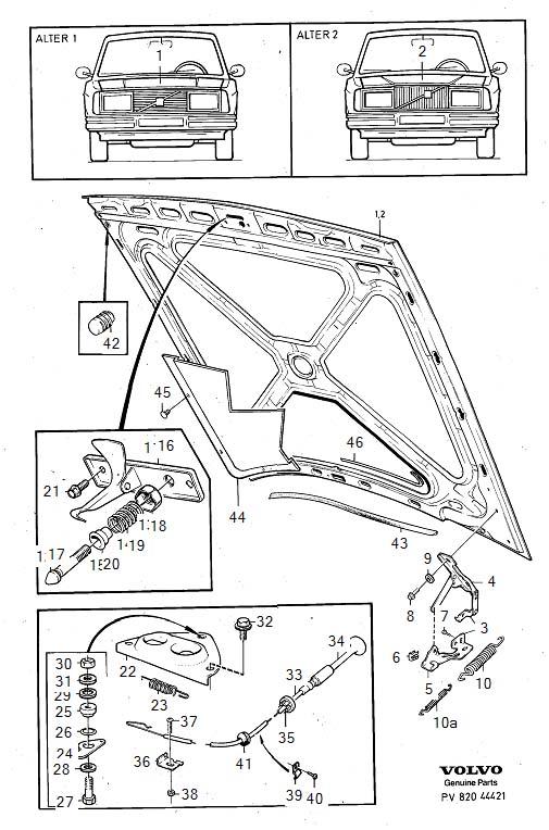 1992 Volvo 240 Hood hinge, left. Genuine Classic Part