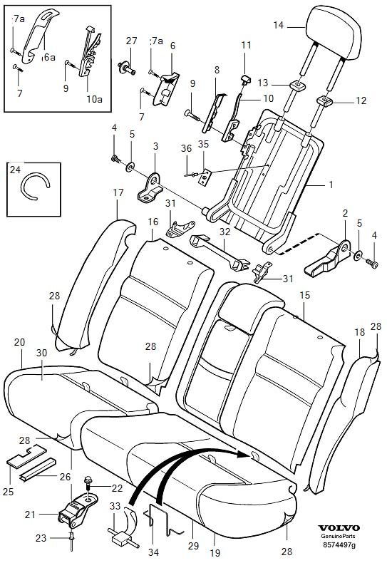 Volvo S40 Attachment Kit. Backrest. Hovedsyl 1344/54. Iso