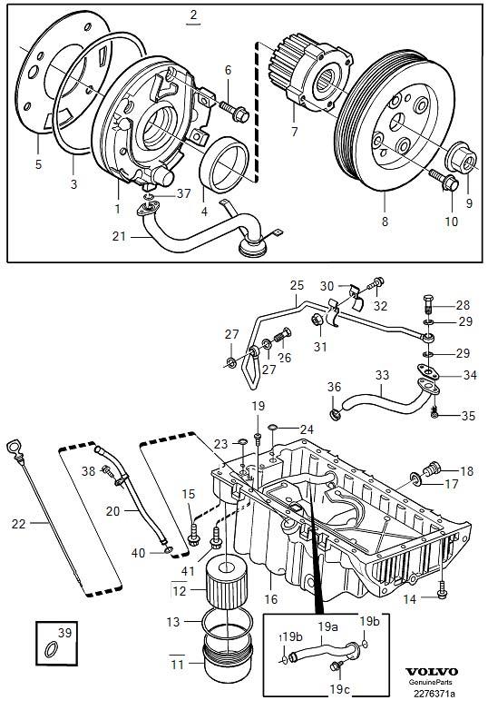 2001 Volvo C70 Turbocharger Oil Line. ENG, System