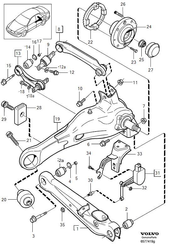 2001 Volvo V40 Suspension Trailing Arm (Right, Rear