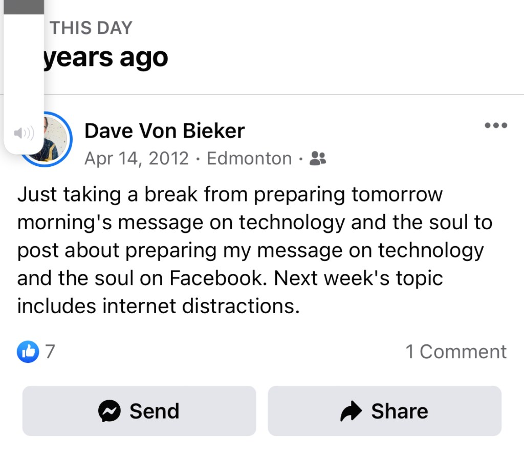 Facebook post about technology