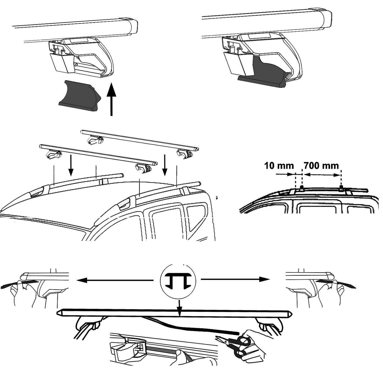 Baca Barras de techo Aurilis Trek CC Fiat Doblo II (Caja