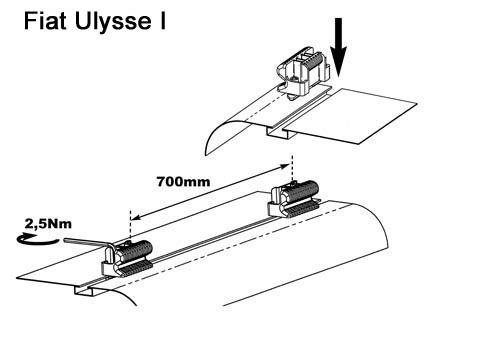 Dachträger Relingträger Aurilis Trek Fiat Ulysse I (Van 5