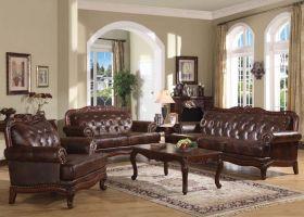 Von Furniture   Birmingham Formal Leather Living Room Set