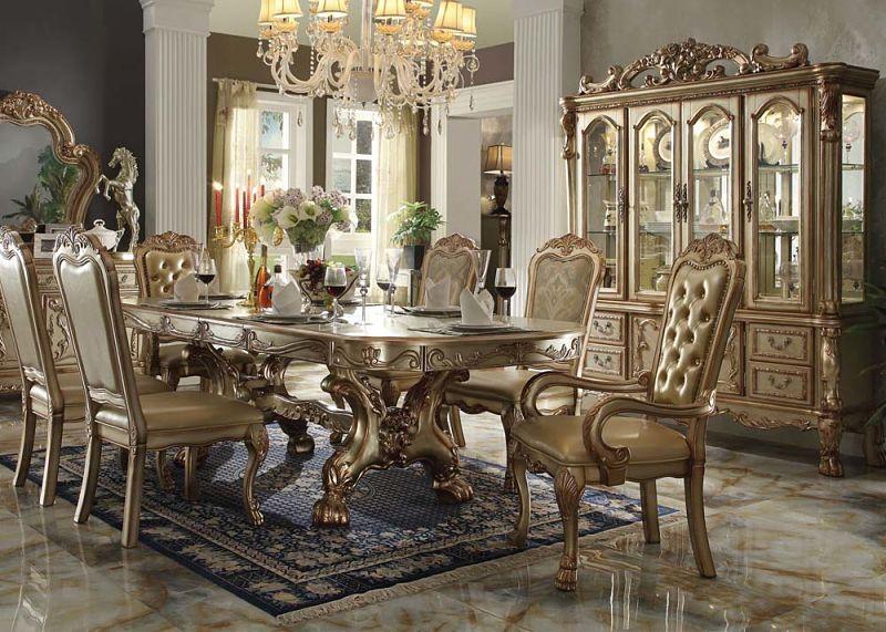 Von Furniture  Dresden Formal Dining Room Set in Gold