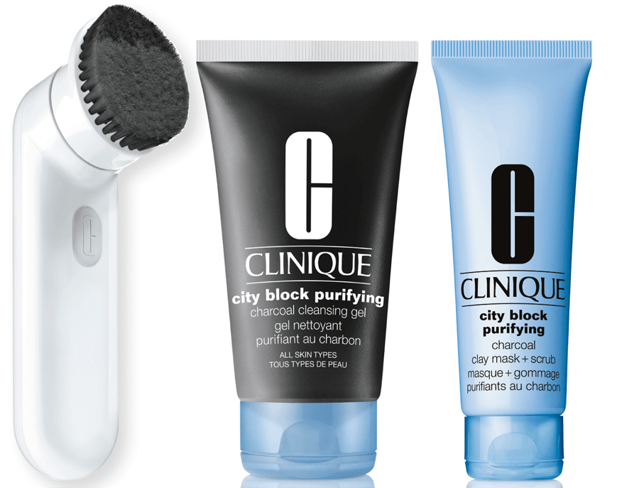 VONsociety: Reinigung, Clinique City Block Parifying Detox Brush, Clinique City Block Purifying Charcoal Cleansing Gel, Clinique City Block Purifying Charcoal Mask
