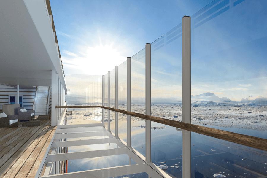 VONsociety: HANSEATIC nature & HANSEATIC inspiration, Gläserner Balkon © Hapag-Lloyd Cruises