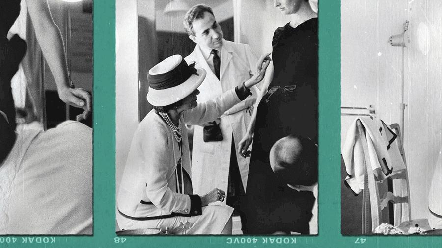 VONsociety: Gabrielle Chanel und das Kino, Fotoausschnitt Coco Chanel bei der Anprobe