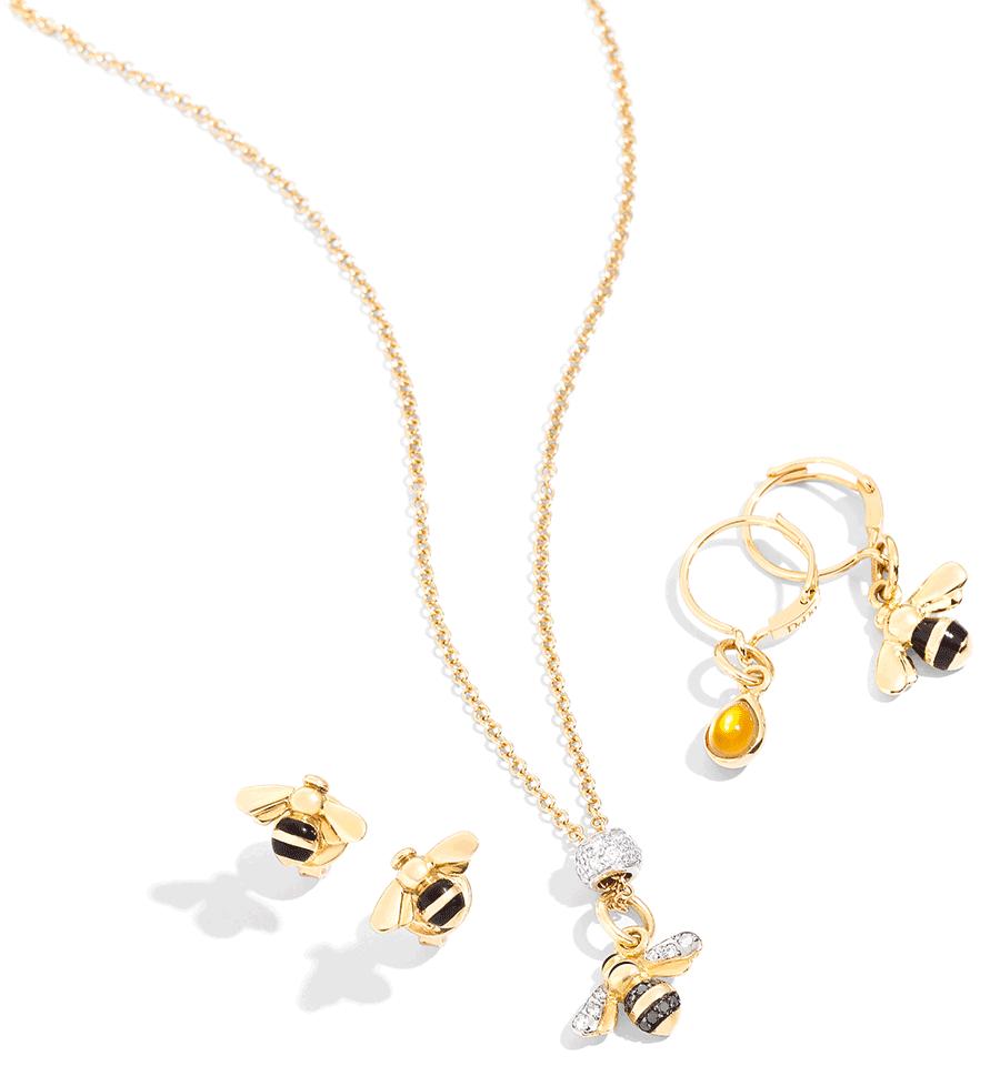 VONsociety: Weltbienentag, DoDo Kollektion Biene, Halskette mit Bienenanhänger besetzt mit Diamanten, Ohrstecker Biene Gelbgold und schwarzes Emaille, Ohrringe mit Bienen- und Honigtropfenanhänger