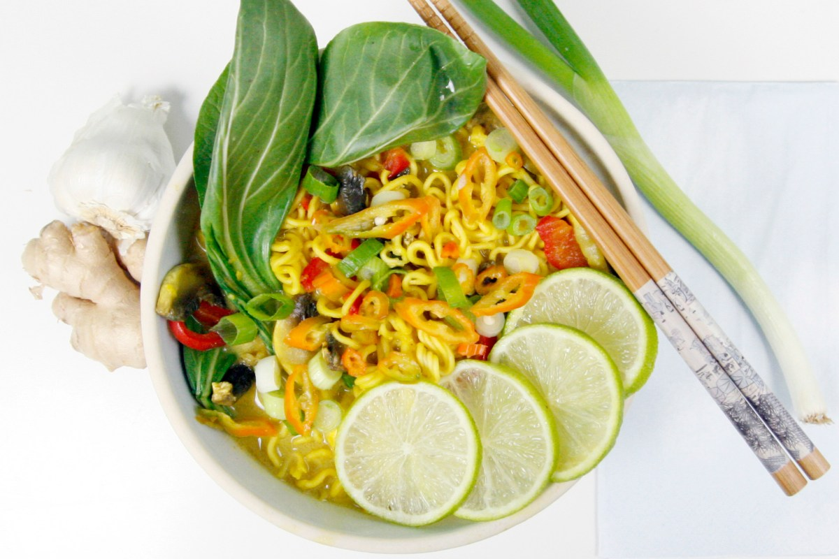 Thai-Style Curry Noodle Soup with Vegetables and Coconut Milk