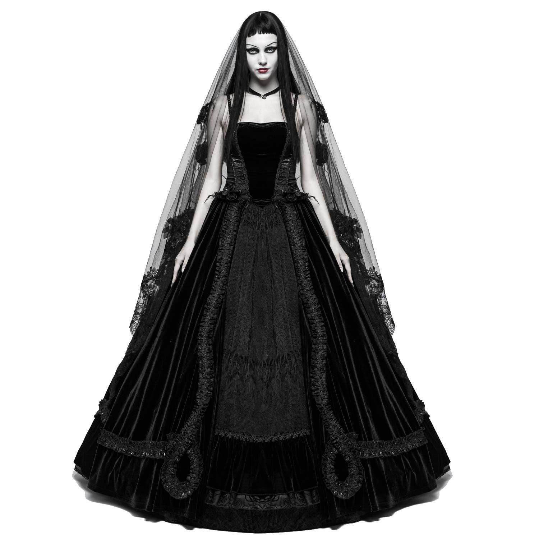 Gothic Hochzeitskleid aus Samt mit Spitze  VOODOOMANIACS
