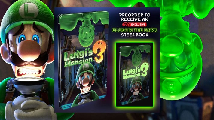 EB Games offering a cool glow-in-the-dark steelbook for Luigi's Mansion 3