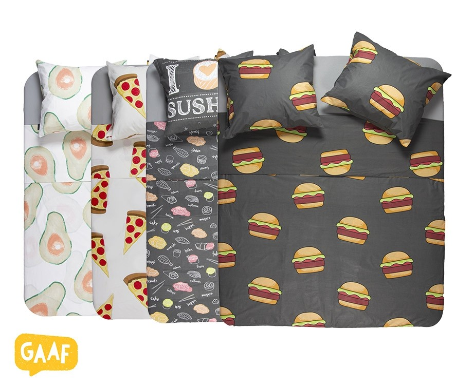 Gaaf Dekbedovertrek  Met Hamburger Pizza Avocado Of