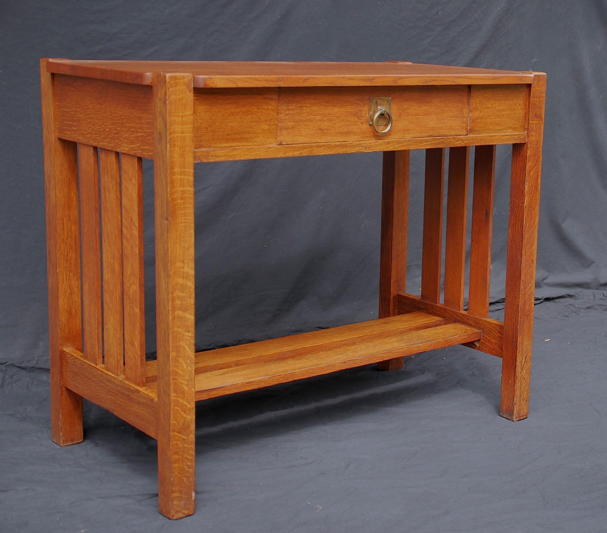 oak mission sofa table leather star furniture voorhees craftsman stickley