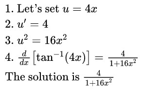 derivative of arctan(4x) solution