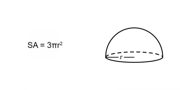 surface area of a hemisphere