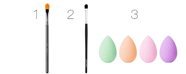 brochas y esponjas de maquillaje corrector