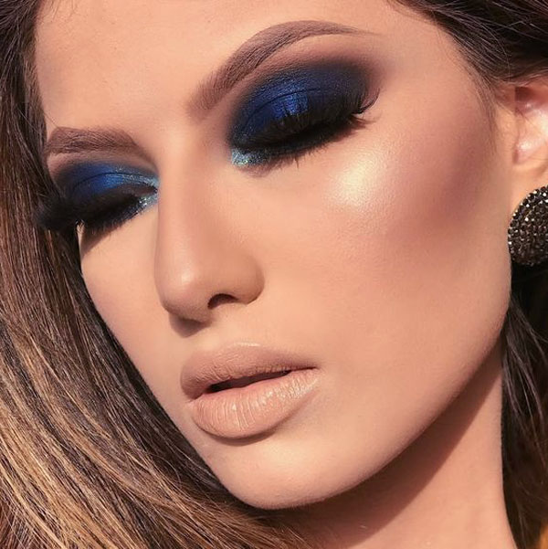 Maquillaje De Noche Vestido Azul Marino Vestidos Populares