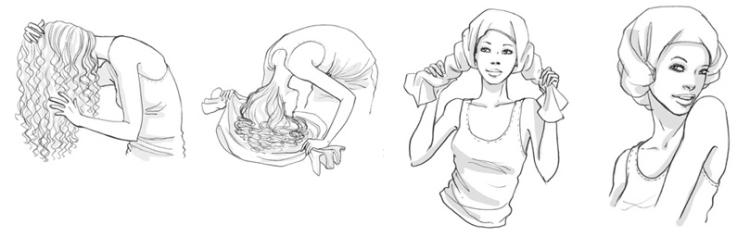 Técnica plopping para un cabello con menos frizz