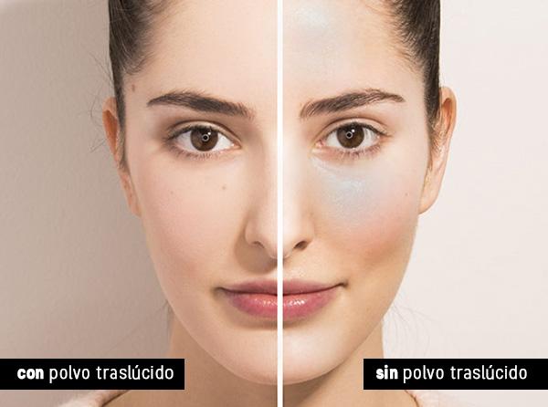 Usa polvo traslucido para matificar el maquillaje