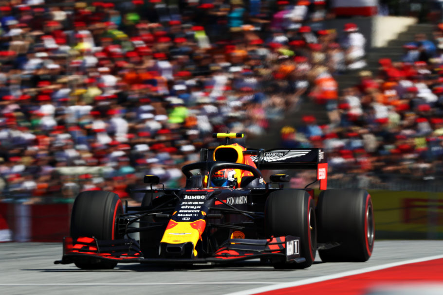 SPIELBERG, AUSTRIA - JUNE 30: Pierre Gasly of France driving the (10) Aston Martin Red Bull Racing RB15 on track during the F1 Grand Prix of Austria at Red Bull Ring on June 30, 2019 in Spielberg, Austria. (Photo by Mark Thompson/Getty Images)